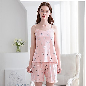 Red Bean Home 2019 Spring and Summer New Women Pajamas Cotton Flower Sling Shorts Home Service Set 328 Shrimp 175/96A