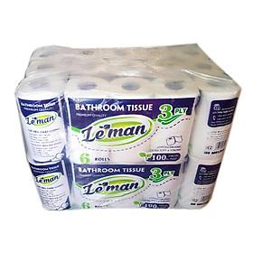 Cây (10 lốc) giấy vệ sinh Leman xanh dương 3 lớp - CÓ LÕI - 6 cuộn/ lốc