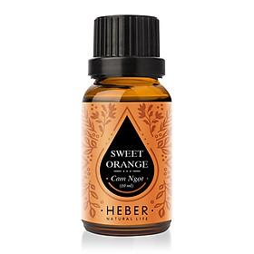 Tinh Dầu Cam Ngọt Sweet Orange Essential Oil Heber | 100% Thiên Nhiên Nguyên Chất Cao Cấp | Nhập Khẩu Từ Ấn Độ | Kiểm Nghiệm Quatest 3 | Xông Thơm Phòng | Hương Dịu Nhẹ