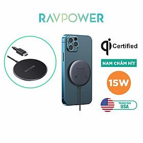 Đế Sạc Không Dây MagSafe Nam Châm 15W RAVPower RP-WC012 Sạc Tất Cả iPhone 12 - Hàng Chính Hãng