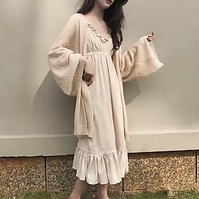 Áo khoác cardigan mỏng dáng form dài len mềm mại, Lên đồ Thời trang