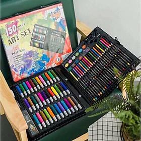 Hộp màu 150 chi tiết bút vẽ và dụng cụ thủ công cho bé đa năng tặng chỉ đỏ may mắn HM01