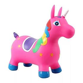 COMBO Thú nhún bơm hơi hình ngựa cho bé CÓ NHẠC + 01 tranh ghép hình kích thích sự phát triển trí não của bé ( Tặng 01 súng nước đồ chơi )