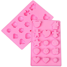 Khuôn silicon làm rau câu, socola, kẹo dẻo vĩ 14 hình tim, con sò, ngôi sao, chiếc lá, gấu con