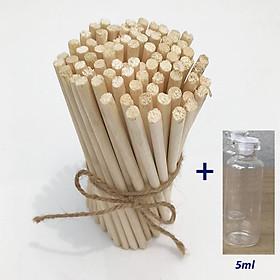 100 Que gỗ tròn làm mô hình [ TẶNG LỌ THỦY TINH 5ML XINH XĂN] ,que tròn 6mm  dài 13,5 cm được bo tròn , trơn nhẵn thích hợp làm quà tặng handmade độc đáo, thủ công
