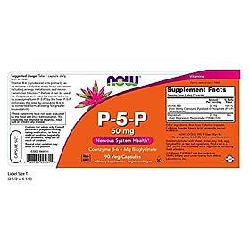 Viên Uống Now P-5-P 50mg Kèm Coenzyme B-6 + Mg Bisglycinate (90 Viên)
