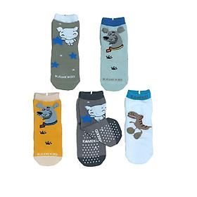 Combo 5 đôi tất cotton Chống Trượt 3D cho bé trai, bé gái size 3 tháng đến 8 tuổi, tất mềm, mịn co giãn tốt, hàng Việt Nam chất lượng