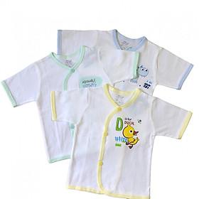 Combo 3 áo sơ sinh tay ngắn cài xéo màu trắng JOU