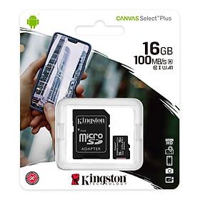 Thẻ nhớ Kingston microSDHC 16GB CL10 UHS-I SDCS2/16GB - 100MB/s (Có Adapter) - Hàng Chính Hãng