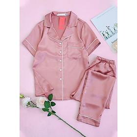 Đồ bộ mặc nhà, mặc ngủ nữ lụa cao cấp dáng Pijama trơn không họa tiết áo cộc quần dài có túi hai bên H217