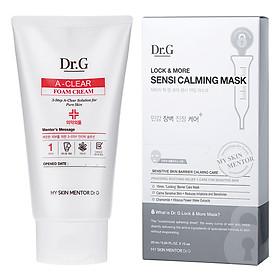 Hình đại diện sản phẩm Combo: Sữa Rửa Mặt Trị Mụn Dr.G A-Clear Foam Cream (150ml) + Mặt Nạ Dành Cho Da Nhạy Cảm Dr.G Sensi Calming Mask (25ml / Miếng x 10 Miếng)