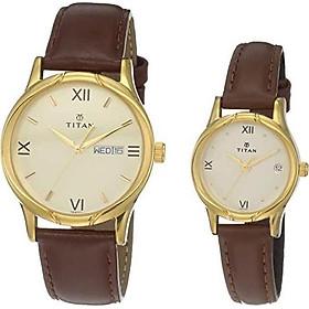 Titan Unisex Analog Gold Dial Pair Watch