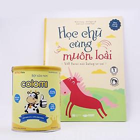 Bột sữa non Colomi 51% sữa non được nhập khẩu từ Mỹ cho bé hộp 350gr tặng kèm sách Học chữ cùng muôn loài