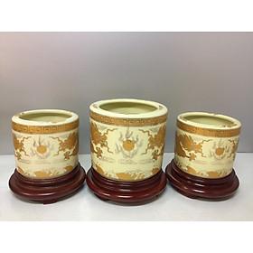 Bát hương thờ ( gốm sứ bát tràng cao cấp)  comboo  bộ 3 bát  hương + đế gỗ (tặng tro đủ 3 bát hương)