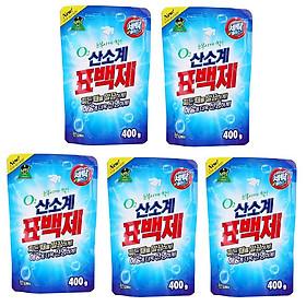 Bộ 5 Gói bột giặt phụ trợ tẩy vết bẩn khử khuẩn quần áo Hàn Quốc 400g