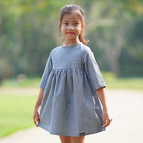 Đầm Bé Gái Tay Dài Buộc Nơ Phía Sau KIKAGND-0005 - Xám (Size 140)