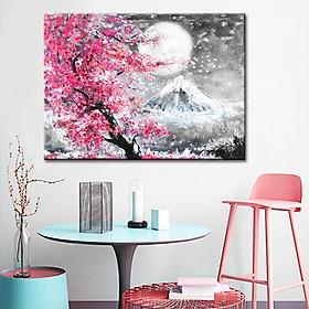 Tranh hoa anh đào vải canvas in phong cảnh 3D sang trọng