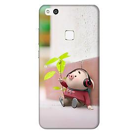Ốp lưng nhựa cứng nhám dành cho Huawei P10 Lite in hình Heo Thơ Mộng