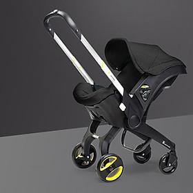 Xe đẩy 2 chiều gấp gọn du lịch kiêm nôi xách tay, ghế ô tô an toàn cho bé 3in1 (đen)