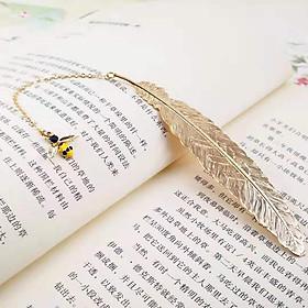 Bookmark Kim Loại Đánh Dấu Sách Hình Lông Vũ Dây Treo - Con Ong