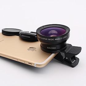 Lens Điện Thoại HD Góc Rộng 0,45X, 52mm, Macro 12.5x Không Bị Biến Dạng L516 2 in 1