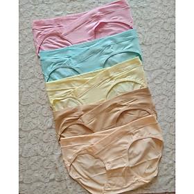 Combo 5 quần lót bầu cotton cạp chéo túi zip - kem/da - 2XL