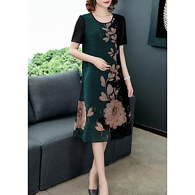 Đầm suông trung niên kiểu đầm suông bigsize in hoa sen xanh lá GOTI 1779
