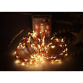 (DÙNG PIN) Dây đèn Led đom đóm 10m màu Vàng ấm xài Pin