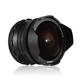 Andoer 7.5mm f/2.8 Manual Focus Fisheye Lens 180° Ultra Wide Angle Large Aperture Compatible with Canon M1/ M2/ M3/ M5/