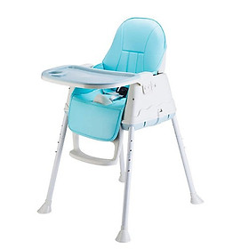 Ghế ăn cho Bé trai từ 06 tháng- 5 tuổi, Màu xanh dương, có Bánh xe di chuyển đi chơi, có Đệm ngồi êm, và chỉnh được độ cao (tặng 1 tranh ghép hình bằng gỗ và 1 thìa ăn dặm báo nóng)