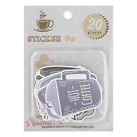Set 20 Sticker Trang Trí - Chủ Đề Coffee