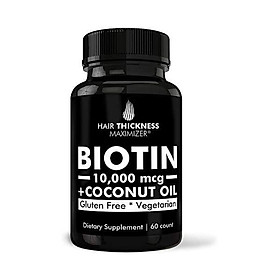 Biotin 5000mcg Vitamins with Organic Coconut Oil by Hair Thickness Maximizer. Hair Growth Vitamin Supplement for Men, Women. Made in USA. Combats Hair Loss and Thinning Hair. Vegetarian, Zero Gluten