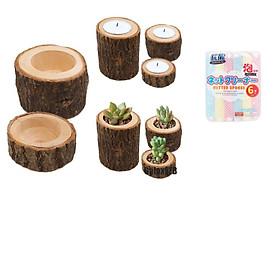 Bộ 2 chậu gỗ trồng cây,giữ nến decor nhà cửa- tặng kèm 1 mút hàng xuất Nhật(Màu ngẫu nhiên)