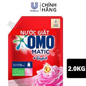Nước giặt OMO Matic Comfort Hương Hoa Hồng Ecuador cho máy giặt cửa trên, với 3 tầng hương giúp thơm bền lâu, túi 2.0kg