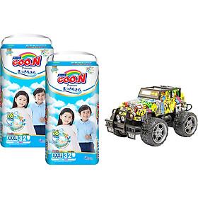 Combo 2 bịch Tã quần Goon Premium cao cấp gói siêu đại XXXL32 (18kg ~ 30kg) + Bộ đồ chơi xe điều khiển cao cấp