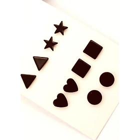 Bông tai nam châm hình chữ nhật tam giác hình sao trái tim hình tròn style Unisex Hàn Quốc