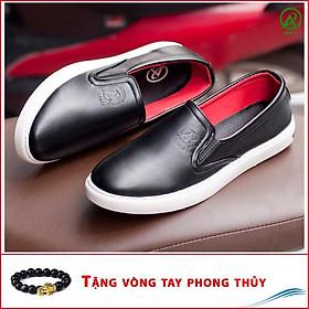 Giày Slip On Nam Aroti Đế Khâu Chắc Chắn Phong Cách Đơn Giản Màu Đen - M498-DEN(VT)-Kèm Vòng Tay Phong Thủy