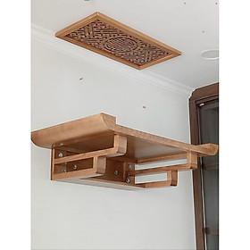 Bàn thờ treo tường gỗ sồi tặng tấm trang trí và tấm chống ám khói chữ Thọ - BH74