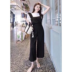 Set Yếm nữ quần ống rộng, set yếm nữ trẻ trunng áo tay bồng kết hợp quần ống rộng hot trend - L020