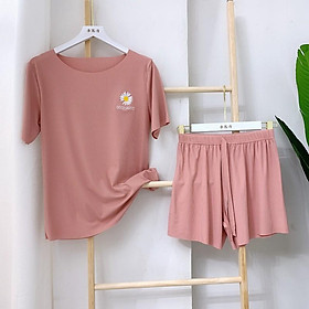 Bộ đồ hè đồ mặc nhà vải thun lạnh hoa cúc vải siêu mát
