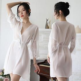 Áo choàng ngủ lụa sexy, kimono xuyên thấu tay dài ren hoa quyến rũ - ZVN5224