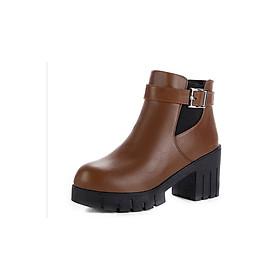 Giày Boot nữ đế thô B095Nau