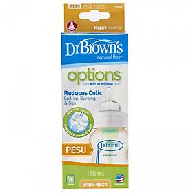 Bình sữa Dr.Brown' cổ rộng 150ml nhựa pesu options