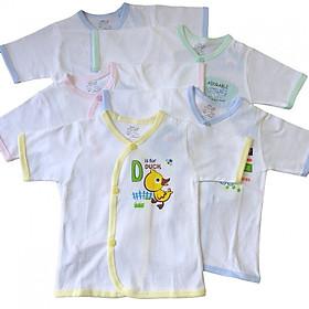 Combo 5 áo sơ sinh tay ngắn cài xéo màu trắng JOU