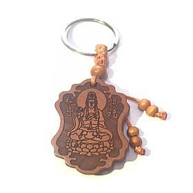 Móc khoá gỗ hình Phật Bà Quan Âm mang đến bình an - bằng gỗ nhẹ không độc hại