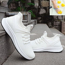 Giày Sneaker Nam Thời Trang -  Kiểu Dáng Thể Thao Năng Động- Chất Liệu Vải Dệt Thoáng Khí - Màu Trắng Đẹp Mắt - Tặng Ngẫu Nhiên 3 Đôi Tất Mèo Ngắn Cổ