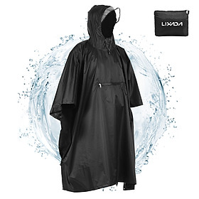 Lixada Hooded Rain Poncho Waterproof Raincoat Jacket Cycling Rain Cover for Outdoor Camping Hiking Fishing