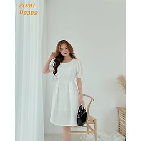 Đầm xòe nữ đẹp thời trang dự tiệc tay phồng cột nơ hiện đại hàng Việt Nam thiết kế cao cấp D9399