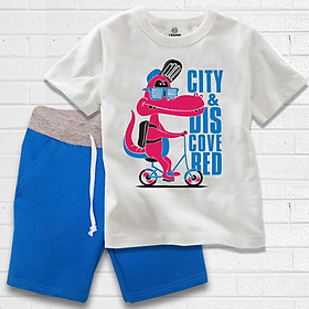 Trang phục bé trai hình Cá Sấu màu trắng xanh thương hiệu TAMOD.