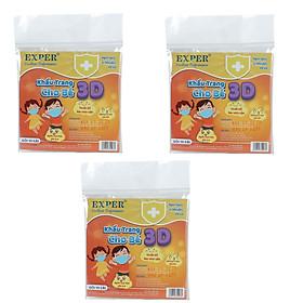 Combo 3 bịch khẩu trang 3D em bé Exper kháng khuẩn cho bé dưới 5 tuổi. Sản phẩm cao cấp bảo vệ đường hô hấp và an toàn cho bé. Khẩu trang y tế 4 lớp kháng khuẩn, mỗi bịch 10 cái